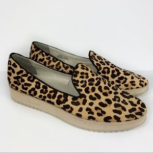 Andrew Stevens Leopard CalfHair Lug Sole Flatforms